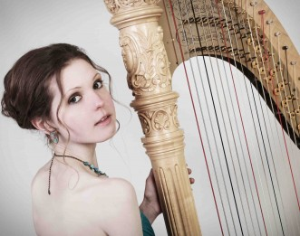 Mary Reid over the shoulder shot with her Lyon and Healy style 23 harp